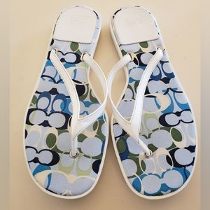 Coach White Leather Linette Thong Sandals 8